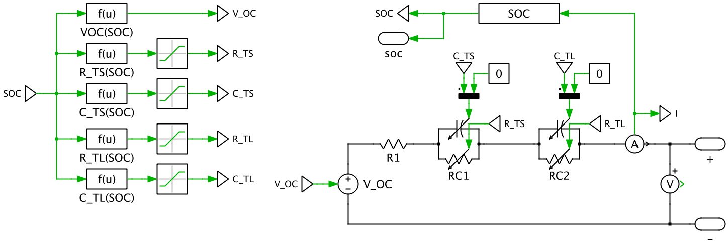 electrical equivalent implementation of lithium