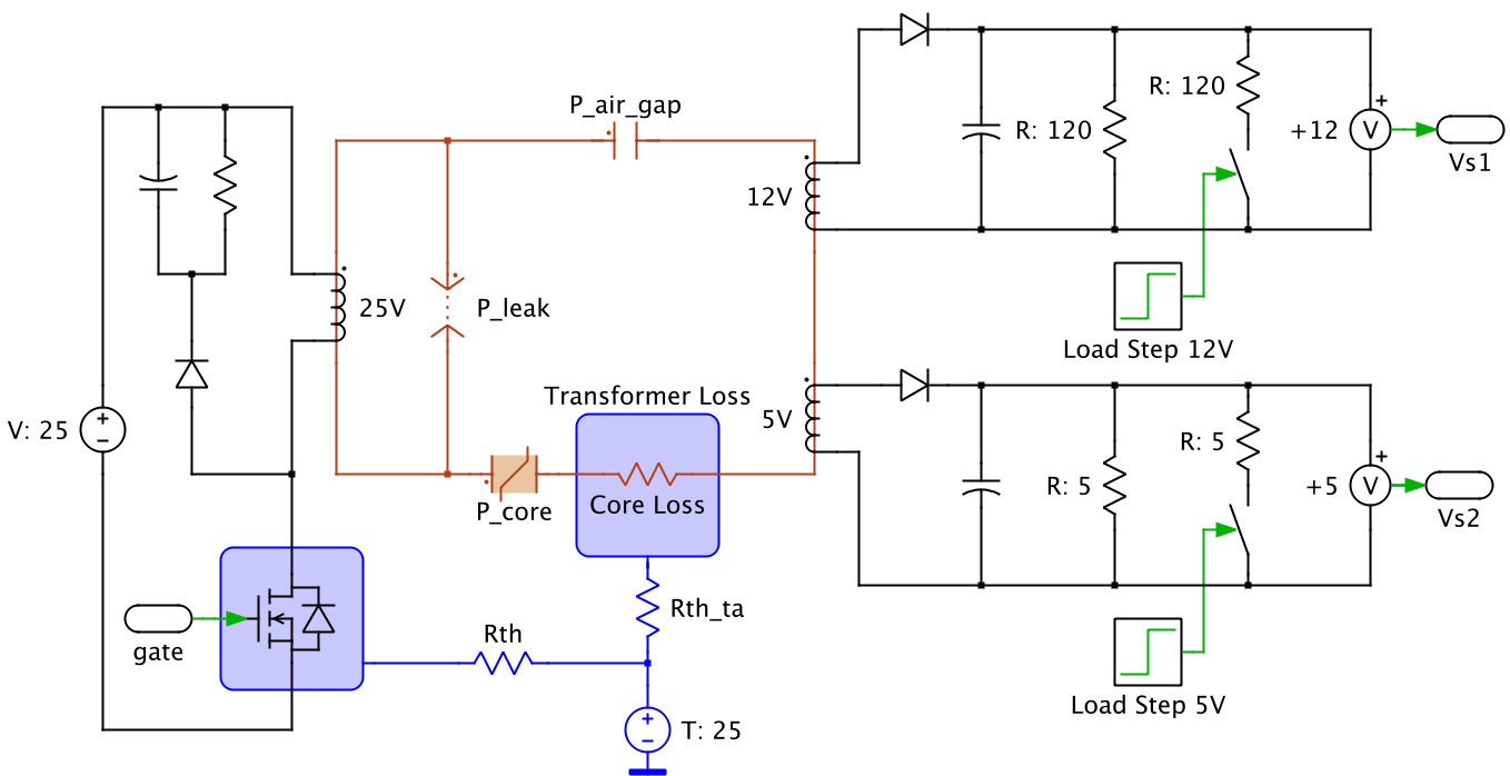 Plecs plexim circuit using electrical magnetic and thermal domains pooptronica